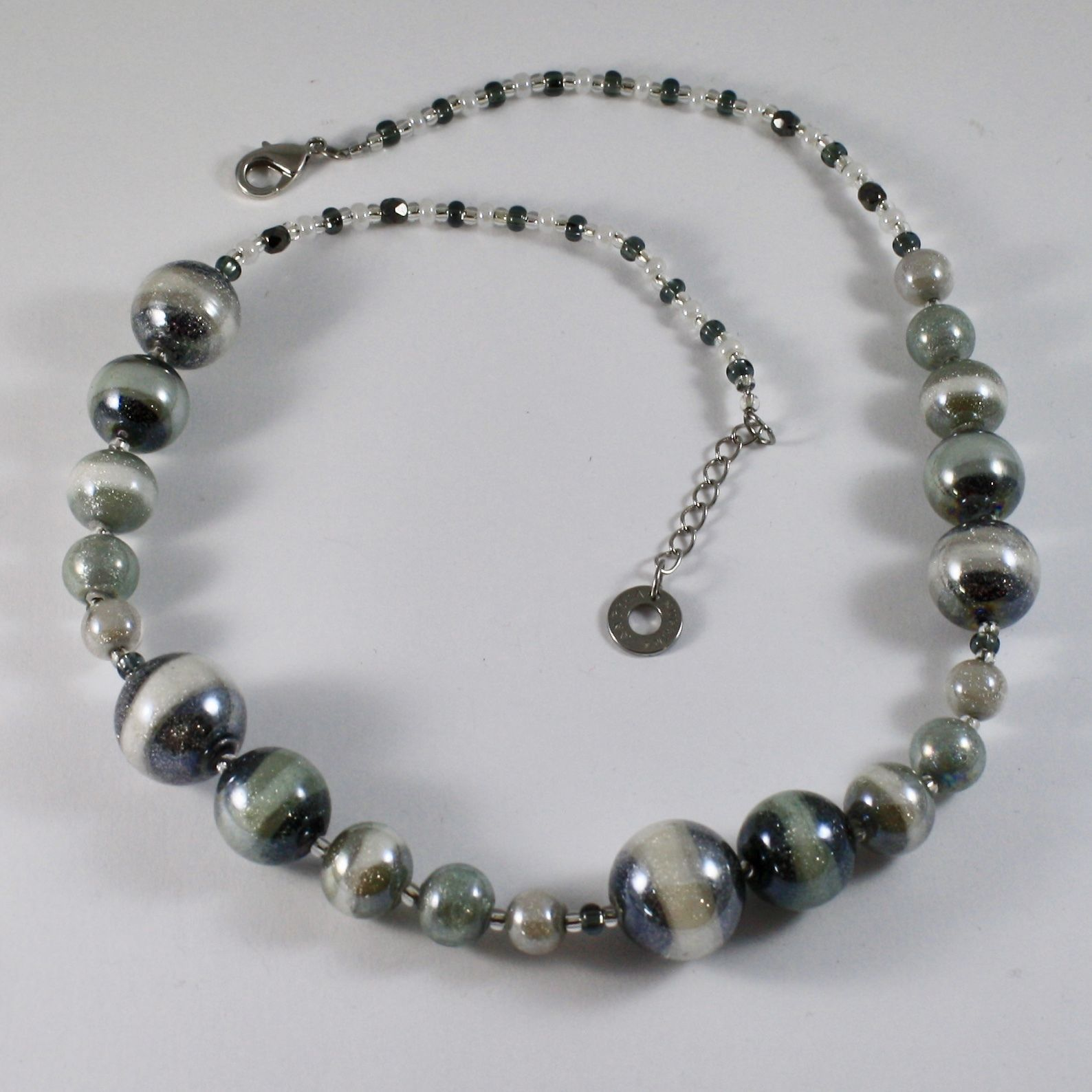 ANTICA MURRINA VENEZIA NECKLACE WITH BLACK WHITE MURANO GLASS BALLS, 20 INCHES