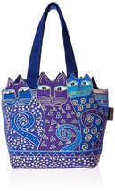 Laurel Burch Tote Zipper Top, 12 by 3-1/2 by 8-1/2-Inch, Tres Gatos, Blu... - $46.32