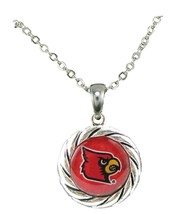 Louisville Cardinals Red Domed Circle Silver Chain Womens Necklace Jewel... - $12.65