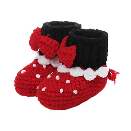 Baby Infant Handmade Crochet Shoes Knit Sock Newborn Gift 10-12CM Red Christmas