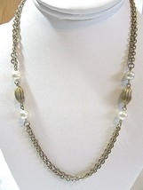 PRETTY CONSERVATIVE DOUBLE CHAIN NECKLACE WITH FAUX PEARL AND FLUTED BRA... - £11.58 GBP