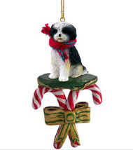 SHIH TZU BLACK WHITE PUPPY CUT DOG CANDY CANE CHRISTMAS ORNAMENT HOLIDAY... - $14.95