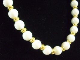 Trifari White Beads Gold Plate Spacers Necklace Strand String Elegant Classic image 3