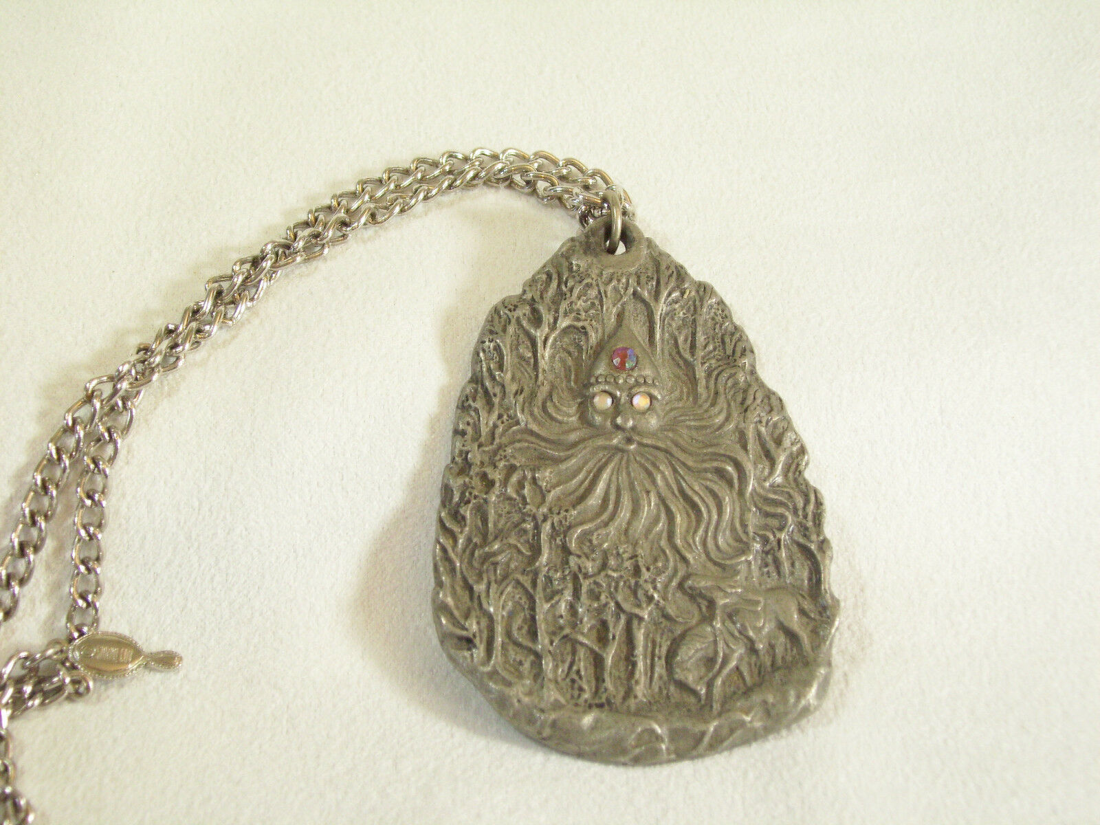 Father Frost Soul of Winter Pewter Pendant Necklace Rawcliffe Artist Signed Big  image 5