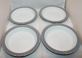 Dansk Bistro Solvang Set of 4 Rimmed Soup Bowls  Dishes Checks AS-IS - $81.56