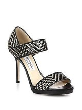 $995 Jimmy Choo Black Alana Woven Leather Sandals Pump Gold Black Heel S... - $468.00