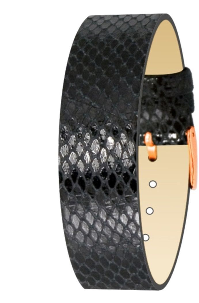 Primary image for Moog Paris Black Calf Leather Bracelet for Women, Python Pattern, Pin Clasp, 18m
