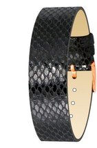 Moog Paris Black Calf Leather Bracelet for Women, Python Pattern, Pin Cl... - $46.65
