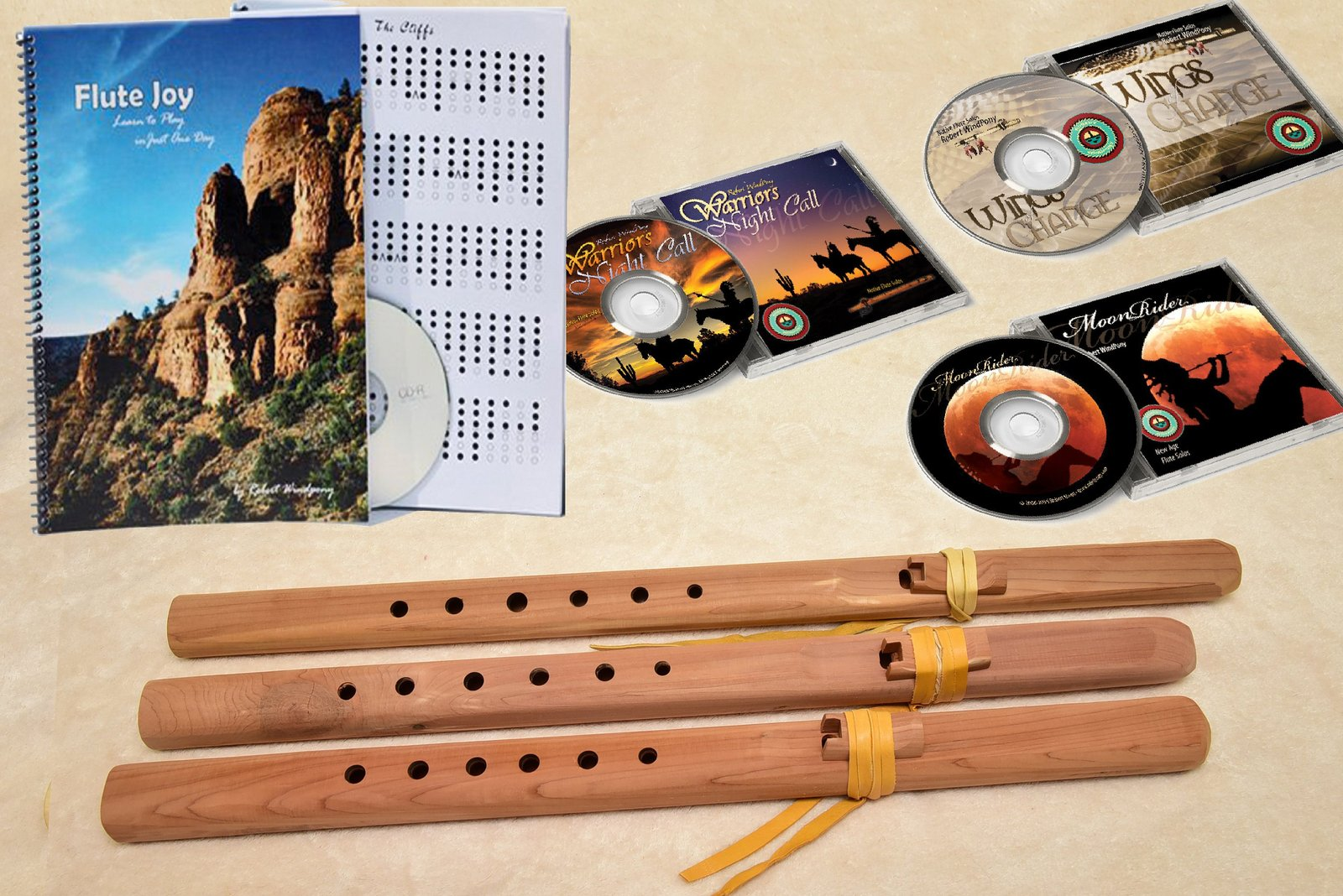 Windpony Unfinished Cedar Flute set - A, G and F# - COMPLETE PACKEGE