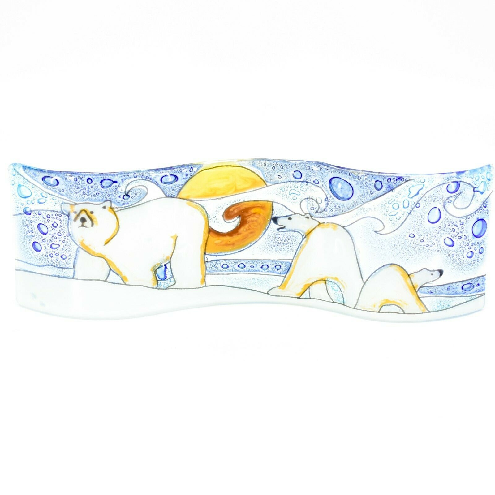 Fused Art Glass Arctic Polar Bear Winter Wavy Decor Sun Catcher Handmade Ecuador