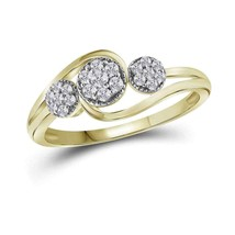 14kt Yellow Gold Womens Round Diamond Triple Cluster Ring 1/6 Cttw - £216.25 GBP