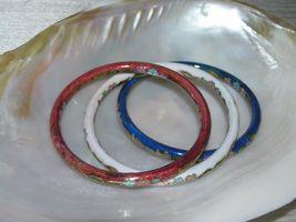 Estate Lot of 3 Red White & Blue Enamel Asian Cloisonne Floral Bangle Bracelet – image 5