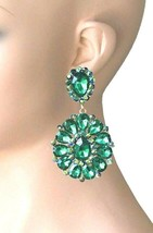 """3.25"""" Long Cluster Clip On Earrings, GREEN Rhinestones, Drag Queen, Pageant - $18.95"""