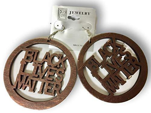 Primary image for Keleafrica Afrocentric Black Lives Matter Round Wooden Earrings (Dark Brown)