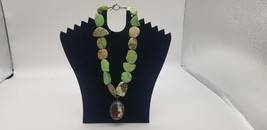 Vintage Green Agate Big & Chunky Stone Necklace With Turquoise & Brown P... - $126.02