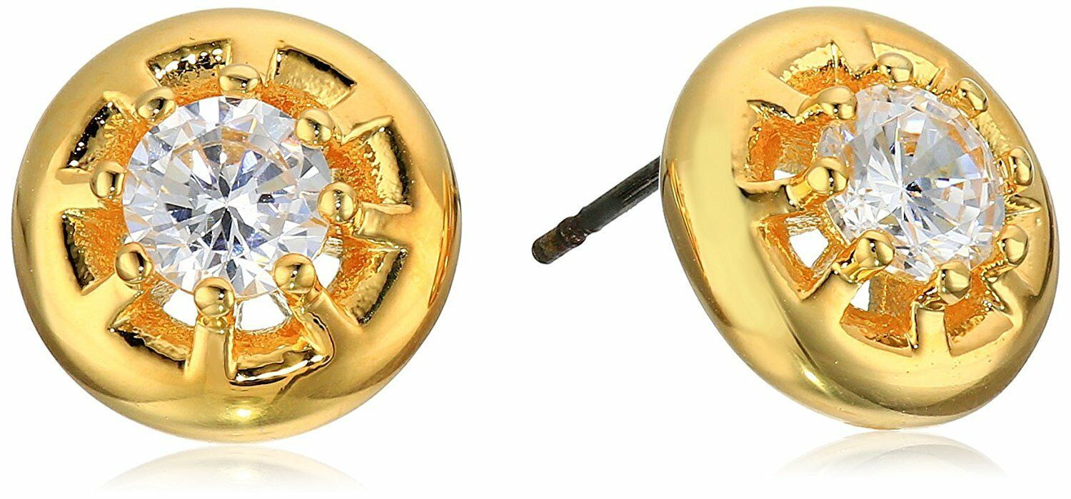 New nOir Gold Plated Eliza Cubic Zirconia Crystal Stud Post Earrings NWT