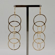 Drop Earrings 925 Silver Foil & Gold Circles by Mary Jane Ielpo Made in Italy image 2