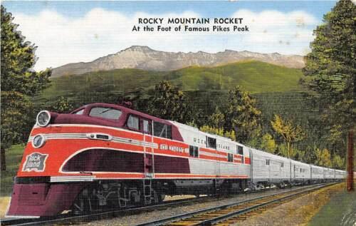 Rocky Mountain Rocket Rock Island Streamliner Railroad Train linen postcard
