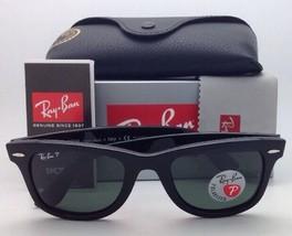 New Ray-Ban Polarized Sunglasses RB 2140 901/58 54-18 WAYFARER Black Frame/Green image 2