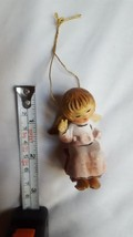 Angel sitting on Chair Vintage Hanging Ornament missing left hand used decor - $15.83