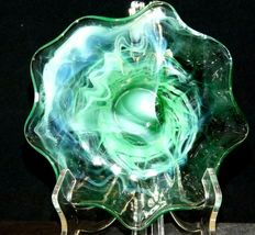 Opaque Green Footed Glass Candy Dish with colorful Swirls AA19-CD0032 Vintage image 10