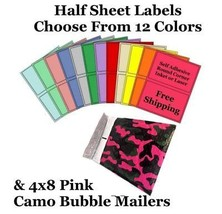 4x8 Pink Camo Poly Bubble Mailers + Half Sheet Self Adhesive Shipping La... - $1.99+