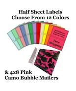 4x8 Pink Camo Poly Bubble Mailers + Half Sheet Self Adhesive Shipping La... - $2.99+