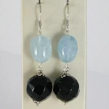 Boucles D'Oreilles en Argent 925 Rhodié Pendentifs avec Onyx Noir et Aqua Bleu image 1