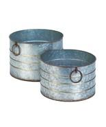 Rustic Garden Planters Round Galvanized Metal Tub Bucket Farmhouse Decor... - $39.60