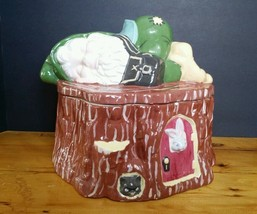 Vintage Cookie Jar Gnome Sleeping Hand Painted XLarge 1970s kitchen cani... - $84.55