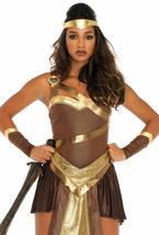 Golden Gladiator Women's Costume, Amazon Warrior, General Leg Avenue LARGE image 2
