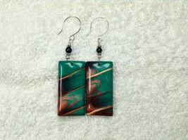 Earrings Rectangular Dangles Drops Aqua Metallic Shades Handmade Polymer... - $18.90
