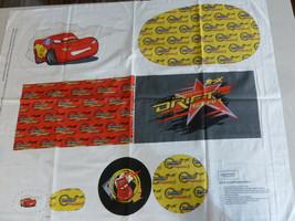 "Disney Pixar Cars Lightning McQueen Drifting Pillows Fabric Panel 45"" W ... - $9.89"