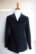 EXPRESS COMPAGNIE INTERNATIONALE ~ XS BLACK MICRO SUEDE BUTTON BLOUSE TOP - $14.85