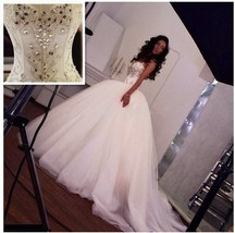 Ball Gown Sparkling Crystals Wedding Dresses Sweetheart Spaghetti Straps... - $293.68