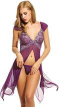 Women Sexy Lingerie  Babydoll Dress Open Front Sleepwear Set with GString Set image 10