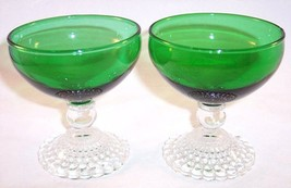 Lot of 2 Anchor Hocking Forest Green Boopie Bubble Sherbet Champagne Glasses MCM - $9.99