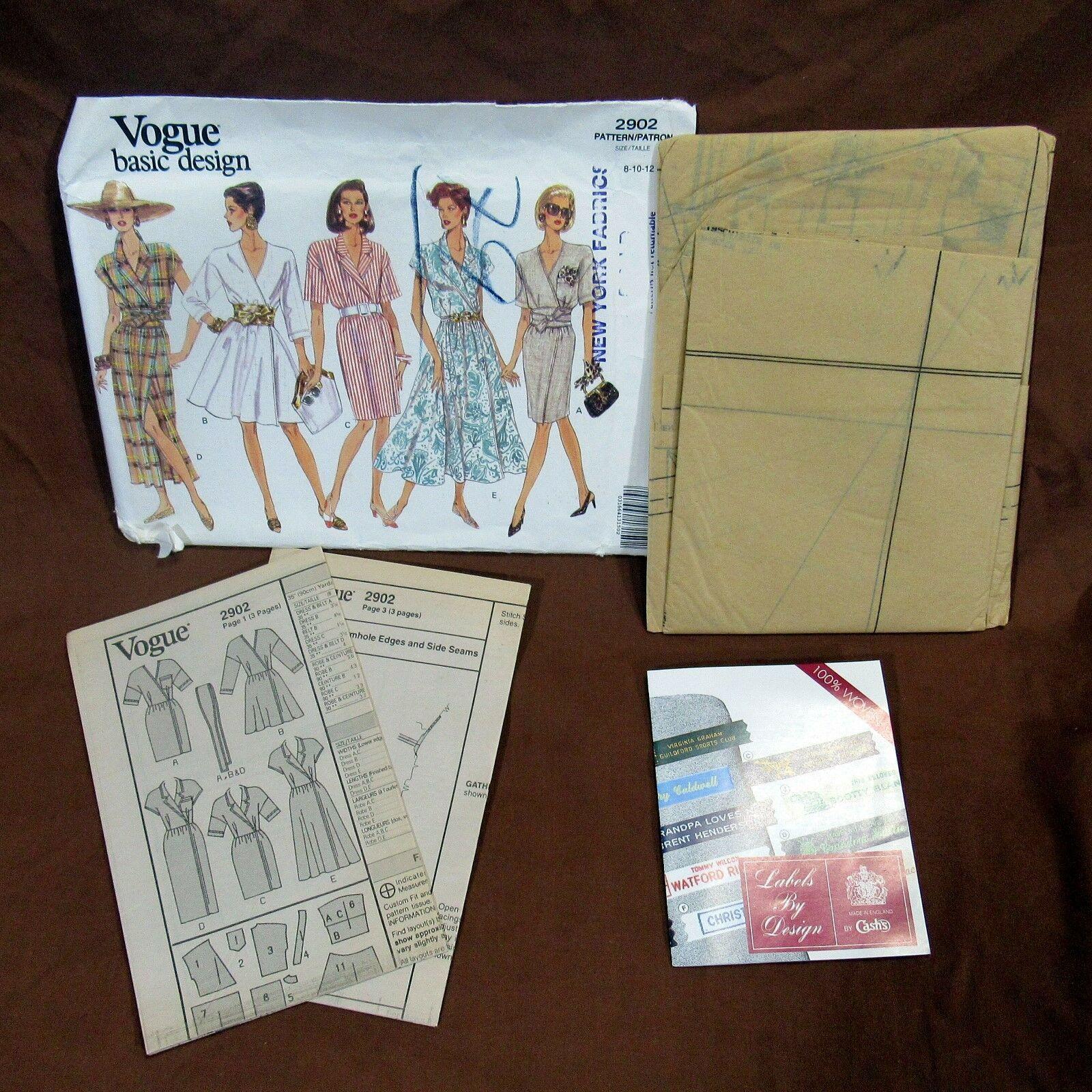 Vtg Vogue Pattern Basic Design #2902 Size 8 10 12 Misses Petite Dress Variations