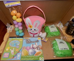 Easter Mix Lot 7 Items Basket Hopping Chick Plastic Grass Stickers Eggs ... - $12.49