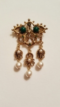 Florenza Signed Green Cabochon and Pearl Dangle Brooch Pin - $55.00