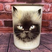 VTG 1984 Marlex International MERLINE Siamese Cat Feline Metal Trash Bin... - $19.99
