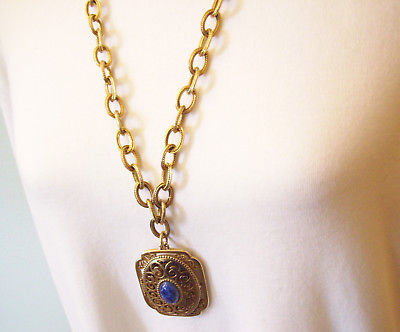 AVON Lapis Blue CAB Gold Plate Filigree Locket Pendant Cable Chain 1970s Vintage