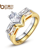 Brand new luxury gold color finger set ring for women ladies with cubic zircon crystal thumbtall