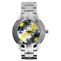 Mens Diamond Watch Aqua Master Yellow Blue Mosaic Dial Steel Bracelet - $199.00