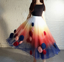 Women Flower Embroidery Long Tulle Skirt Outfit Custom Plus Size Princess Outfit image 3