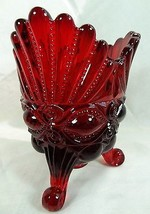 Eye Winker Spooner Ruby Red Glass Vase Mosser - $37.39