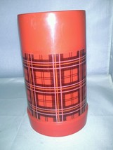 Aladdin Wide Mouth Pint Red Plaid Plastic Thermos With Cup Very Good - $18.99
