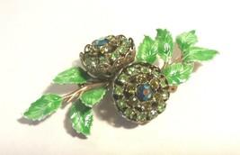 VINTAGE ENAMEL GREEN LEAVES RHINESTONE FLOWER BROOCH PIN - $65.00
