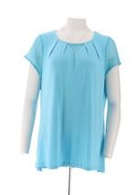 H Halston Short Slv Knit Top Lace Surf Blue XS NEW A288597 - $26.71
