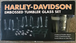 Harley-Davidson Embossed Glass Tumbler Gift set 6 glasses New in Box - $43.54